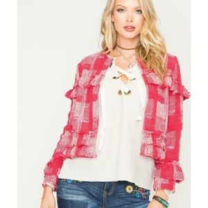 Jack By BB Dakota Sparks Fly Yarn Plaid Blazer M